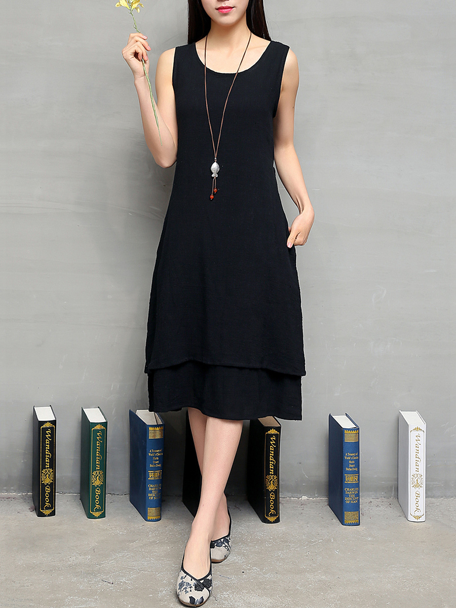 Round Neck  Plain Double Layer Shift Dress