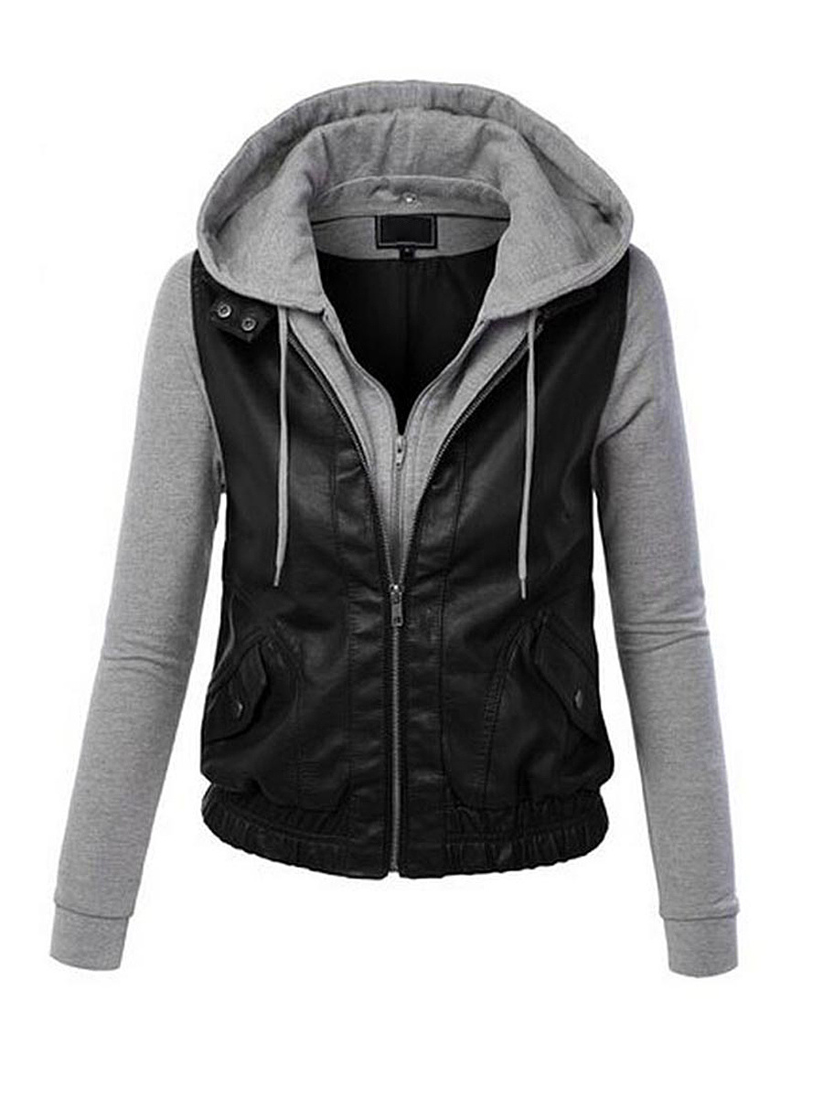 Hooded Drawstring Faux Leather Patchwork Jacket