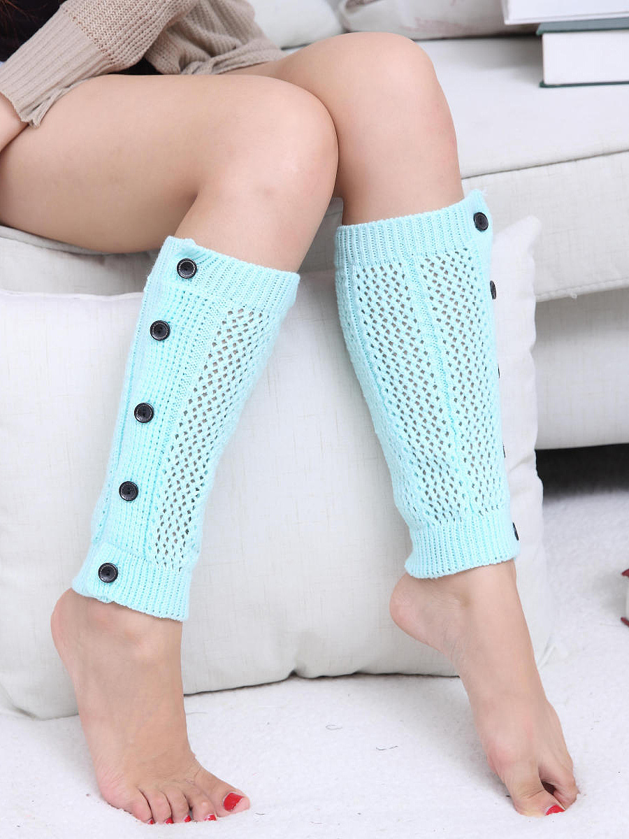 Decorative Buttons Knit Leg Warmers