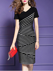 V-Neck Elegant  Striped Bodycon Dress