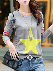 Round Neck Color Block Star Sweater