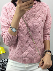 Round Neck  Loose Fitting  Plain Knit Pullover