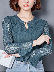 Autumn Spring  Lace  Women  V-Neck  Flounce  Hollow Out  Bell Sleeve  Long Sleeve Blouses