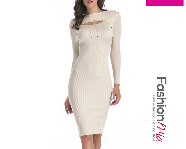 Round Neck  Beading  Plain Bodycon Dress