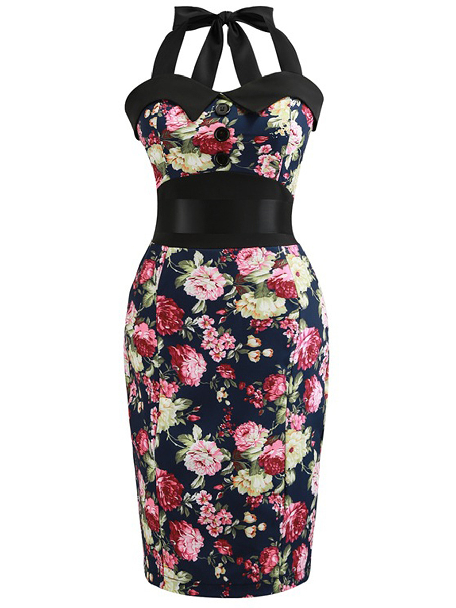 Halter  Bowknot Slit  Floral Printed Bodycon Dress