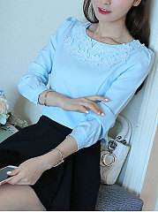 Round Neck Floral Patch Plain Blouse