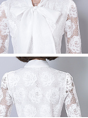 Autumn  Cotton  Women  Tie Collar  Decorative Lace See-Through  Lace  Long Sleeve Blouses