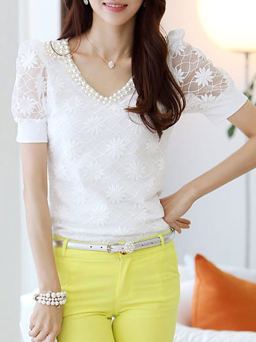 Spring Summer  Chiffon  Women  V-Neck  Beading Decorative Lace  Plain  Short Sleeve Blouses