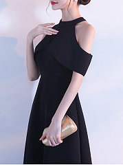 Crew Neck  Polyester Evening Dresses