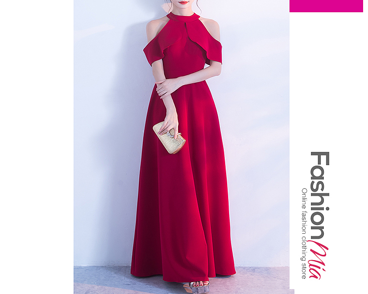 Image of Crew Neck Polyester Evening Dresses