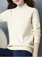 Band Collar  Patchwork  Plain Knit Pullover