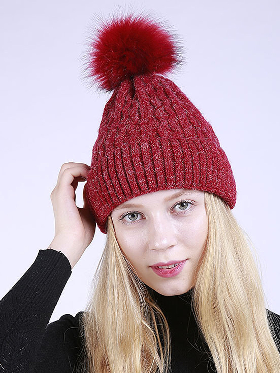 Plain Fur Ball Warm Knitted Thick Pullover Hats