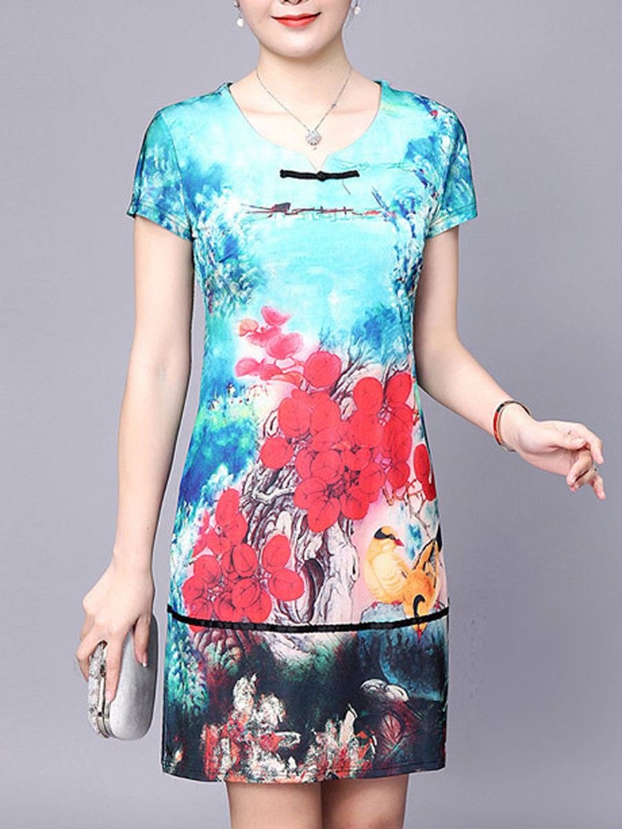 Chic Split Neck Decorative Button Printed Bodycon Dress