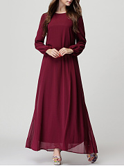 Round Neck Plain Bowknot Chiffon Maxi Dress
