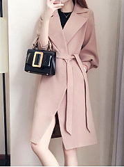 Lapel Plain Belt Puff Sleeve Woolen Wrap Trench Coat