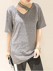 Spring Summer  Polyester  Women  Asymmetric Neck  Plain Short Sleeve T-Shirts