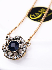 Chain Adjustable Rhinestone Pendant Necklace