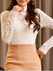 Spring  Lace  Women  High Neck  Beading  Hollow Out Lace Plain  Long Sleeve Blouses