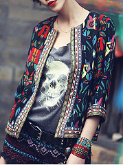 Collarless  Abstract Print Bohemian Printed  Three-Quarter Sleeve Blazers
