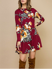 Round Neck Midi Casual Printed Shift Dress
