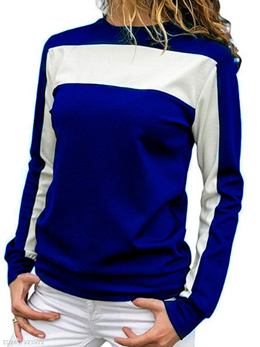 Autumn Spring Winter  Polyester  Women  Round Neck  Color Block Long Sleeve T-Shirts