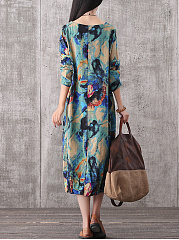 Autumn Winter  Cotton Blend  Round Neck  Printed Maxi Dress