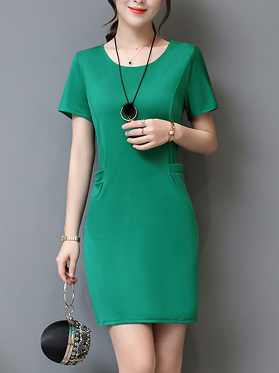 Round Neck Plain Pocket Bodycon Dress