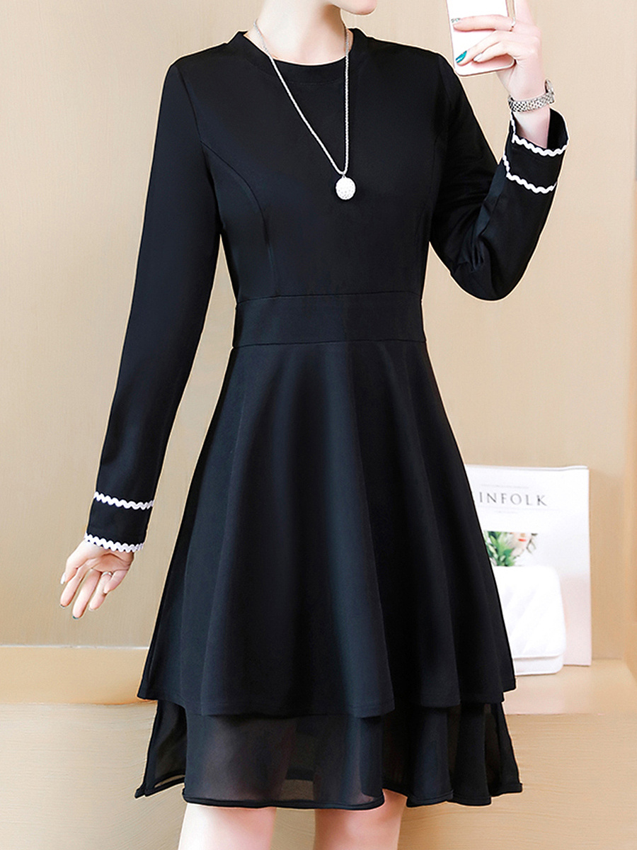 Round Neck  Contrast Trim  Plain  Polyester Skater Dress