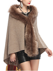 Faux Fur Collar Plain High-Low Cape