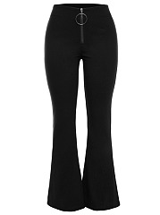 Zips  Plain  Flared Casual Pants