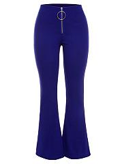 Zips-Plain-Flared-Casual-Pants