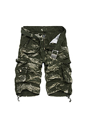 Flap Pocket  Plain  Straight  Mid-Rise Cargo  Shorts