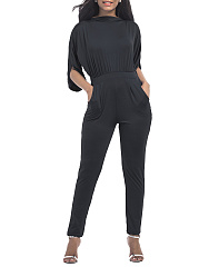 Half-Sleeve-Pocket-Plain-Slim-Leg-Jumpsuit