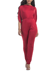 Half Sleeve Pocket Plain Slim-Leg Jumpsuit
