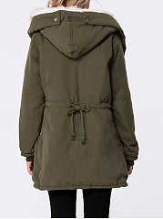 Hooded Drawstring Fleece Lined Padded Coat