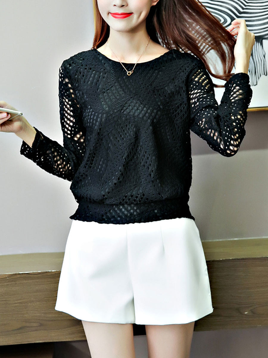 Autumn Spring  Lace  Women  Round Neck  Hollow Out  Long Sleeve Blouses