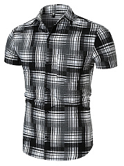 Turn Down Collar  Patch Pocket  Plaid  Short Sleeve Short Sleeves