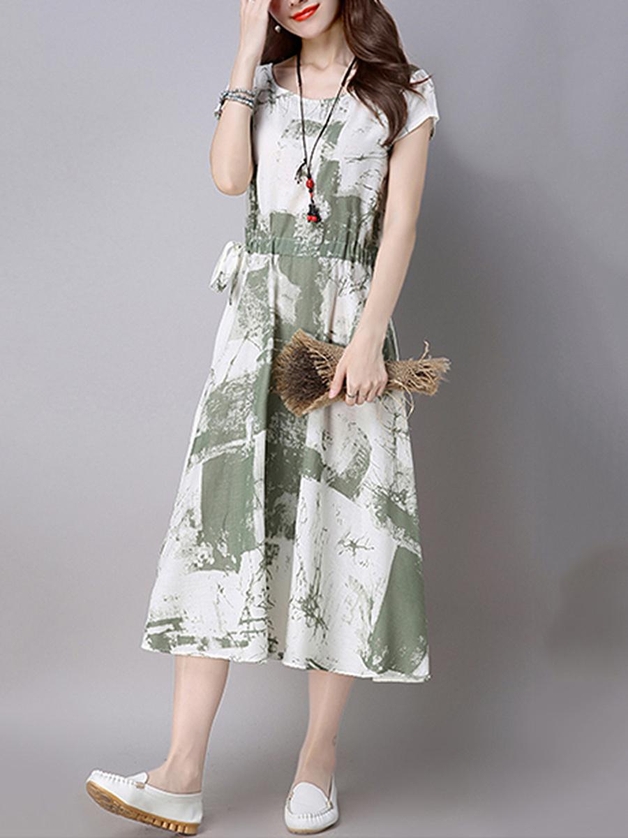 Round Neck Drawstring Ikat Cotton/Linen Maxi Dress. Round ...