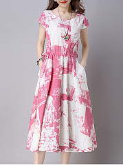 Round Neck Drawstring Ikat Cotton/Linen Maxi Dress