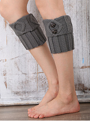 Decorative Buttons Knit Short Leg Warmers