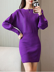 Boat Neck Plain Knitted Batwing Mini Bodycon Dress