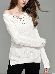 V-Neck  Lace-Up  Plain  Long Sleeve Sweaters Pullover