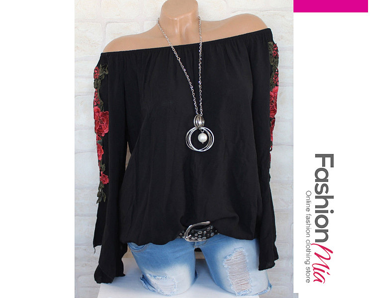 Spring Summer  Cotton  Women  Round Neck  Two Way  Embroidery Plain  Long Sleeve Blouses