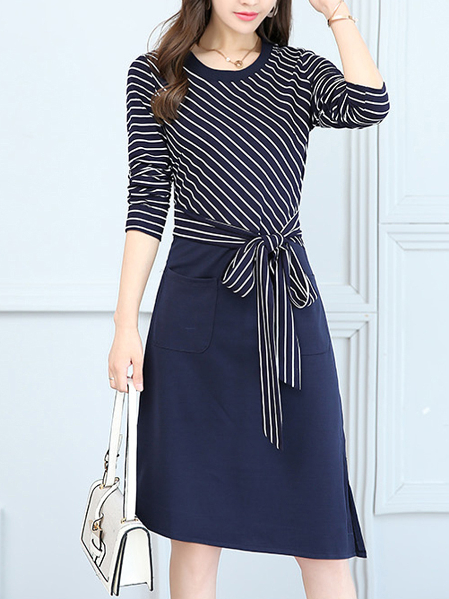 Striped Asymmetric Hem Bowknot Patch Pocket Maxi Dress