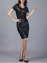 Short-Sleeve Round Neck Plain Faux Leather Bodycon Dress