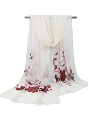 Color Block Floral Chiffon Scarf