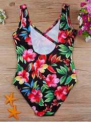 Colorful V-Neck  Floral One Piece