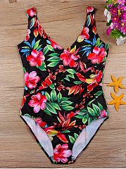 Colorful-V-Neck-Floral-One-Piece