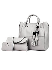 Light Gray Three Pieces Women Hand Bags