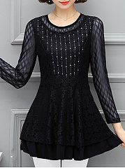 Round Neck Lace See-Through Plain Rhinestone Blouse
